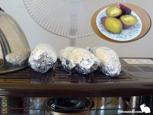 ストーブで焼き芋